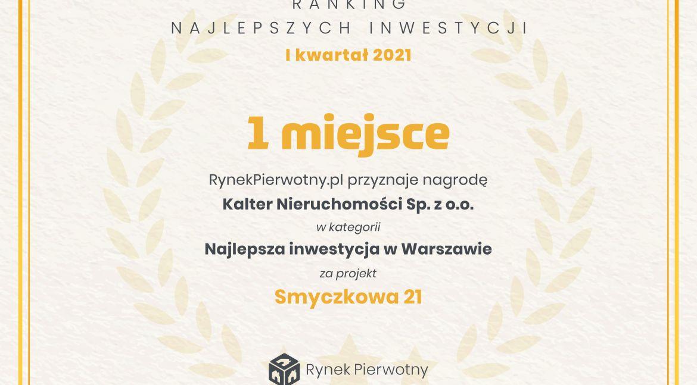 Ranking Najlepszych Inwestycji w Warszawie w I kwartale 2021 roku